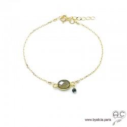 Bracelet quartz fumé ovale avec une pampille en pierre naturelle sur une chaîne en plaqué or, fin, création by Alicia