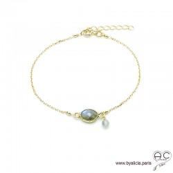 Bracelet labradorite ovale avec une pampille en pierre naturelle sur une chaîne en plaqué or, fin, création by Alicia