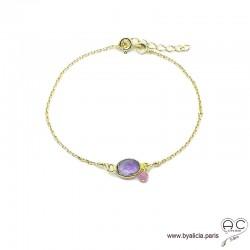 Bracelet améthyste ovale avec une pampille en pierre naturelle sur une chaîne en plaqué or, fin, création by Alicia