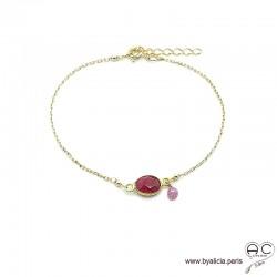 Bracelet sillimanite rubis ovale avec une pampille en pierre naturelle sur une chaîne en plaqué or, fin, création by Alicia