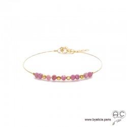 Bracelet jonc fin flexible semi rigide plaqué or, tourmaline rose, pierre naturelle, fait main, création by Alicia