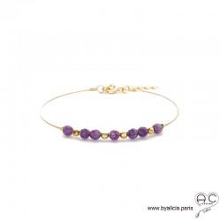 Bracelet jonc flexible semi rigide avec améthyste, pierre naturelle, en plaqué or, fin, création by Alicia