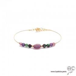 Bracelet jonc semi rigide avec rubis, pierre précieuse naturelle, en plaqué or, fin, création by Alicia