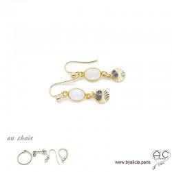 Boucles d'oreilles pierre de lune, pampille médaille soleil plaqué or, pierre naturelle blanche, fait main, création by Alicia