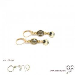 Boucles d'oreilles quartz fumé avec une pampille médaille soleil et pierre naturelle en plaqué or, création by Alicia