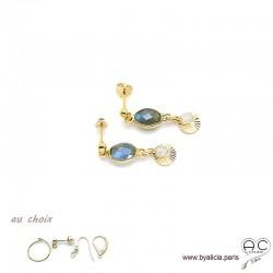 Boucles d'oreilles labradorite avec une pampille médaille soleil et pierre naturelle en plaqué or, création by Alicia