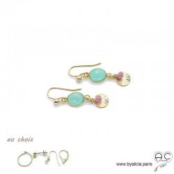 Boucles d'oreilles calcédoine agua avec une pampille médaille soleil et pierre naturelle en plaqué or, création by Alicia