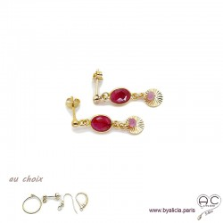 Boucles d'oreilles sillimanite rubis avec une pampille médaille soleil et pierre naturelle en plaqué or, création by Alicia