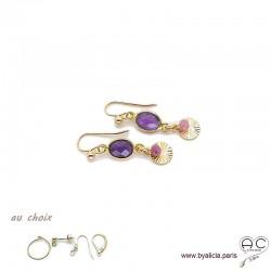 Boucles d'oreilles améthyste avec une pampille médaille soleil et pierre naturelle en plaqué or, création by Alicia