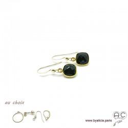 Boucles d'oreilles onyx et plaqué or, pierre naturelle, pendantes, création by Alicia