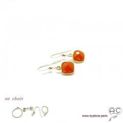 Boucles d'oreilles cornaline et plaqué or, pierre naturelle, pendantes, création by Alicia