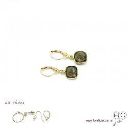 Boucles d'oreilles quartz fumé et plaqué or, pierre naturelle, pendantes, création by Alicia