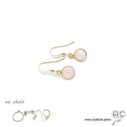 Boucles d'oreilles quartz rose et plaqué or, pierre naturelle, pendantes, création by Alicia