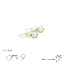 Boucles d'oreilles pierre de lune et plaqué or, pierre naturelle, pendantes, création by Alicia