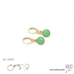 Boucles d'oreilles chrysoprase et plaqué or, pierre naturelle, pendantes, création by Alicia