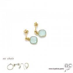 Boucles d'oreilles calcédoine agua et plaqué or, pierre naturelle, pendantes, création by Alicia