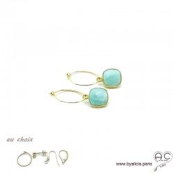 Boucles d'oreilles amazonite et plaqué or, pierre naturelle, pendantes, création by Alicia