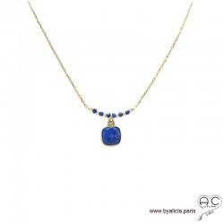 Collier lapis lazuli entouré des petits lapises sur une chaîne en plaqué or, ras de cou, création by Alicia