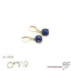 Boucles d'oreilles lapis lazuli et plaqué or, pierre naturelle, pendantes, création by Alicia