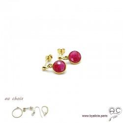 Boucles d'oreilles sillimanite rouge et plaqué or, pierre naturelle, pendantes, création by Alicia