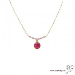 Collier sillimanite rouge entouré des petits rubis sur une chaîne en plaqué or, ras de cou, création by Alicia