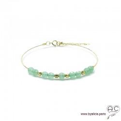 Bracelet jonc fin flexible semi rigide avec aventurine, pierre naturelle, en plaqué or, fait main, création by Alicia