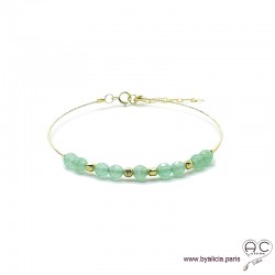 Bracelet jonc flexible semi rigide avec aventurine, pierre naturelle, en plaqué or, fin, création by Alicia