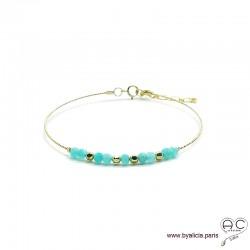 Bracelet jonc semi rigide avec amazonite, pierre naturelle, en plaqué or, fin, création by Alicia