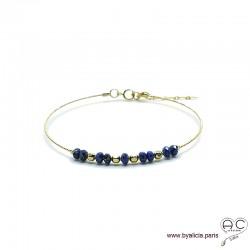 Bracelet jonc semi rigide avec lapis lazuli, pierre naturelle, en plaqué or, fin, création by Alicia