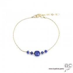Bracelet lapis-lazuli sur une chaîne en plaqué or, pierre naturelle, création by Alicia