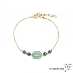 Bracelet aventurine et rubis zoîsite sur une chaîne en plaqué or, pierre naturelle, création by Alicia