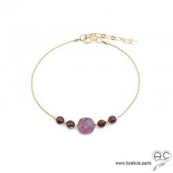 Bracelet rubis et grenat sur une chaîne en plaqué or, pierre naturelle, création by Alicia