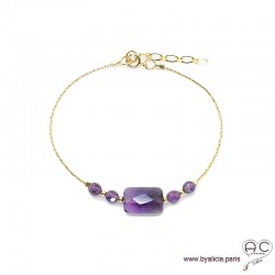 Bracelet améthyste sur une chaîne en plaqué or, pierre naturelle, création by Alicia