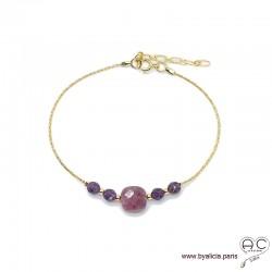 Bracelet rubis et améthyste sur une chaîne en plaqué or, pierre naturelle, création by Alicia