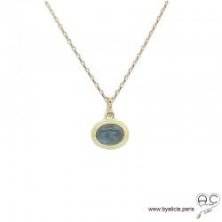 Collier pendentif avec labradorite en cabochon, pierre naturelle, ovale, plaqué or, ras de cou, femme