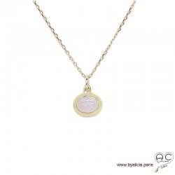 Collier pendentif avec quartz rose en cabochon, pierre naturelle, ovale, plaqué or, ras de cou, femme