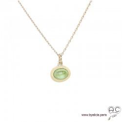 Collier pendentif avec peridot en cabochon, pierre naturelle vert, ovale, plaqué or, ras de cou, femme