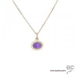 Collier pendentif avec améthyste en cabochon, pierre naturelle violet ovale, plaqué or, ras de cou, femme
