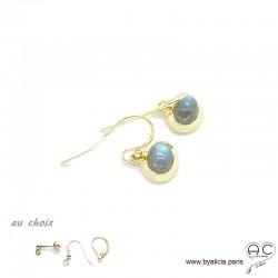 Boucles d'oreilles avec labradorite en cabochon, pierre naturelle, ovale, plaqué or, pendantes, femme