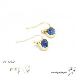boucles d'oreilles avec tanzanite en cabochon, pierre naturelle bleu, ovale, plaqué or, pendantes, femme