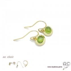Boucles d'oreilles avec peridot en cabochon, pierre naturelle vert, ovale, plaqué or, pendantes, femme