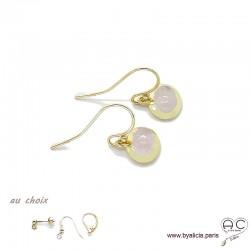 boucles d'oreilles avec quartz rose en cabochon, pierre naturelle, ovale, plaqué or, pendantes, femme