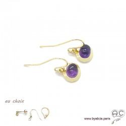 Boucles d'oreilles avec améthyste en cabochon, pierre naturelle violet ovale, plaqué or, pendantes, femme