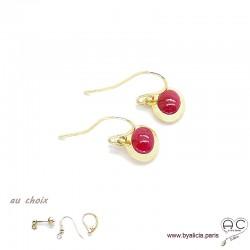 Boucles d'oreilles avec rubis en cabochon, pierre naturelle rouge, ovale, plaqué or, pendantes, femme