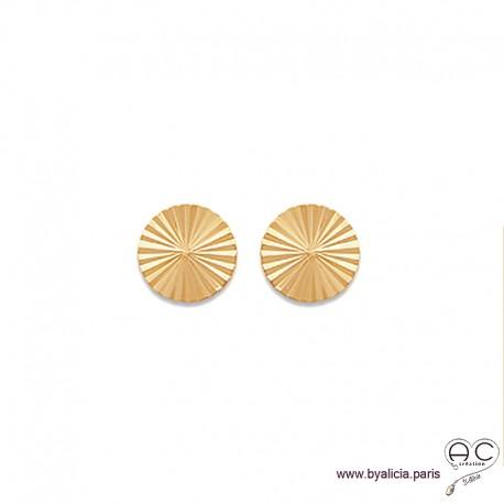 Boucles d'oreilles NOELY puce soleil, ronde en plaqué or, clous, femme