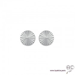 Boucles d'oreilles NOELY puce soleil, ronde en argent 925 rhodié, clous, femme