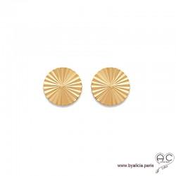 Boucles d'oreilles NOELY grandes puces soleils, rondes en plaqué or, clous, femme