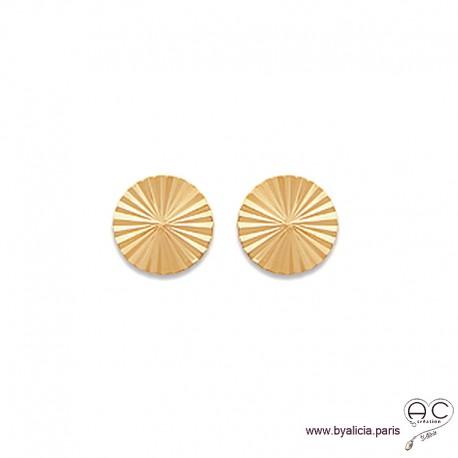Boucles d'oreilles NOELY grande puce soleil, ronde en plaqué or, clous, femme