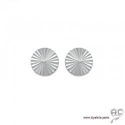 Boucles d'oreilles NOELY grande puce soleil, ronde en argent massif 925 rhodié, clous, femme