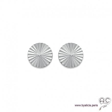 Boucles d'oreilles NOELY grande puce soleil, ronde en argent 925 rhodié, clous, femme